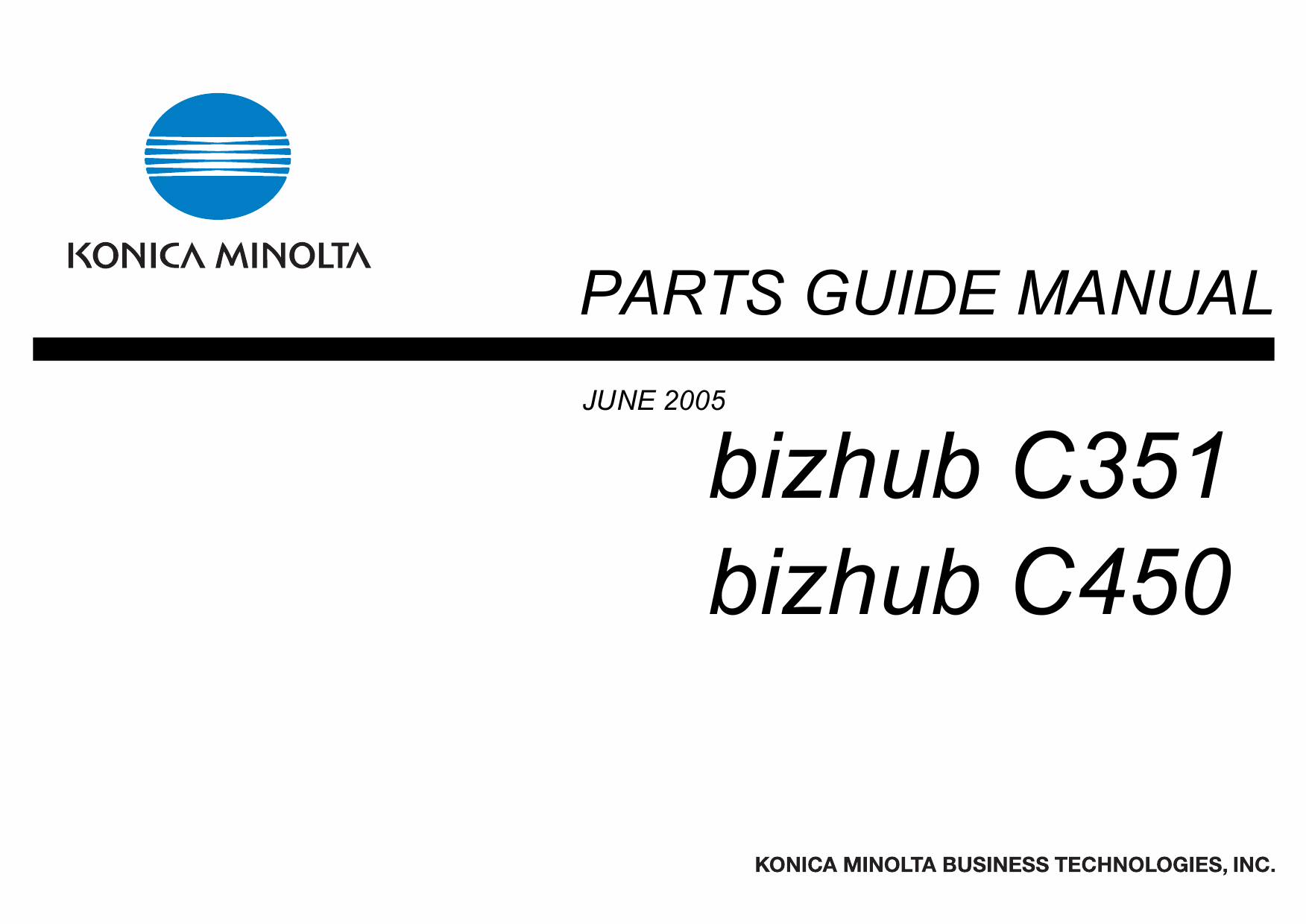 Konica-Minolta bizhub C351 C450 Parts Manual